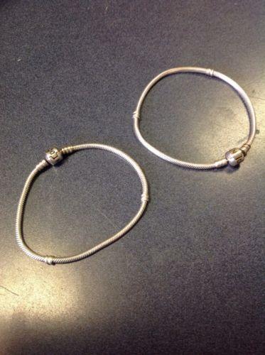 Authentic Pandora .925 Sterling Silver Charm Bracelet w/ Barrel Clasp 8