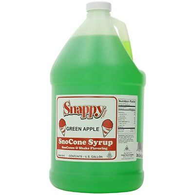Snappy Dessert Syrups Sauces Popcorn Snow Cone Syrup Gallon, Green Apple, 1