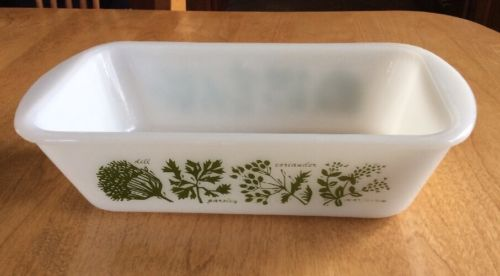 Vintage Glasbake Bread Loaf Baking Dish White with Green Herbs