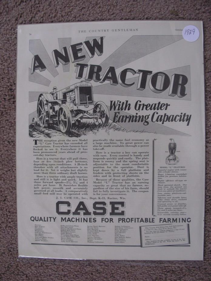 1929 STEEL WHEEL CASE TRACTOR LARGE FULL PAGE AD FREE SHIPPING