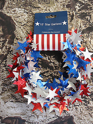 Star Garland 15 Feet Red White Blue New Party Decoration
