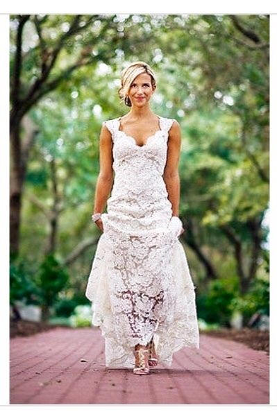 New Open Back Beach Wedding Dress Lace Bridal Gown