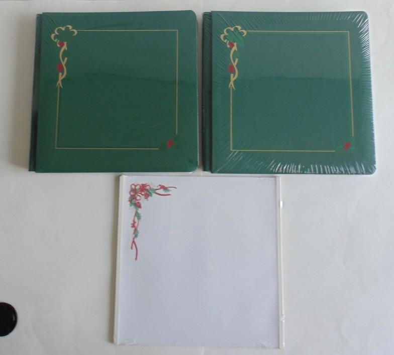 Creative Memories Green Holly Christmas Holiday Album15 White Pages 12x12 1996
