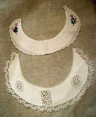 2 1950's White Cotton Dress Collars Trim Floral Embroidery & Lace Trim SWISS