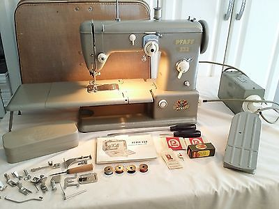 VINTAGE PFAFF 332 INDUSTRIAL STRENGTH SEWING MACHINE PLUS MANY EXTRAS