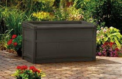 50 Gallon Deck Box Seat Durable Resin Storage Brown Outdoor Patio Furniture Yard