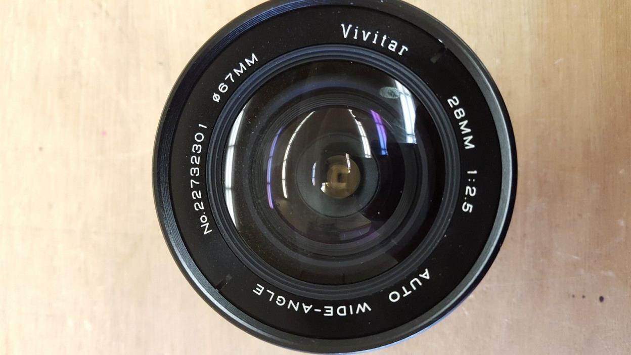 Vintage Lens~Vivitar 28mm 1:2.5 Auto Wide Angle No 22732301 Canon Mount