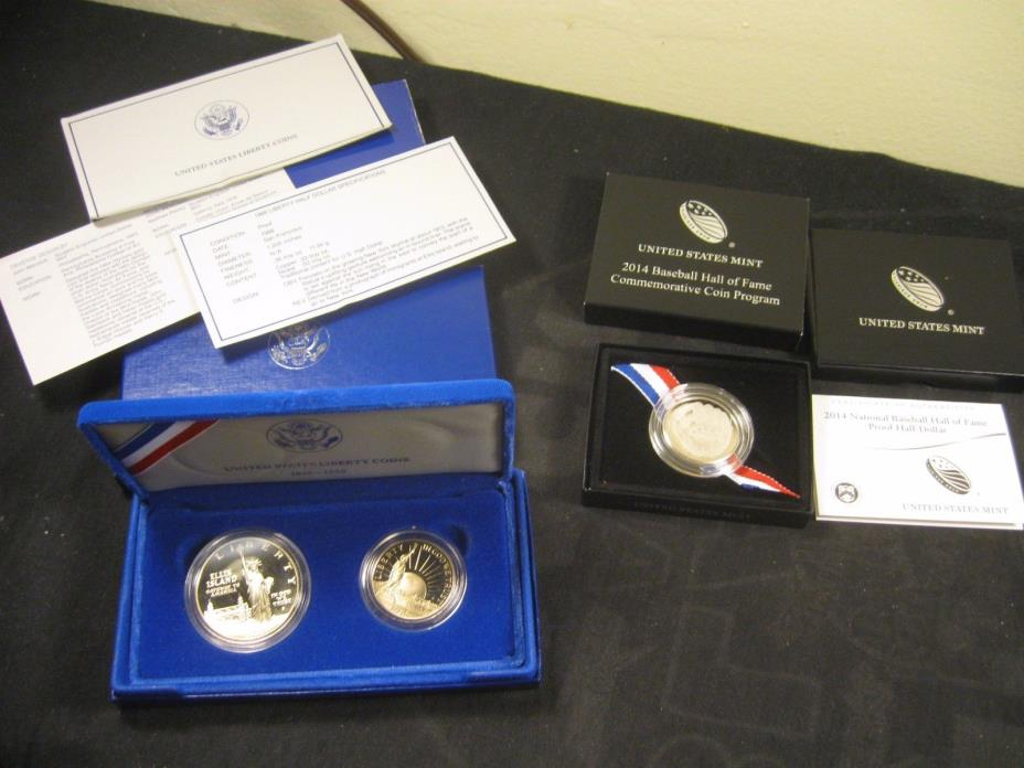 2014-s BASEBALL COIN WITH 1986-S LIBERTY TWO COIN SET, SILVER DOLLAR & CLAD HALF
