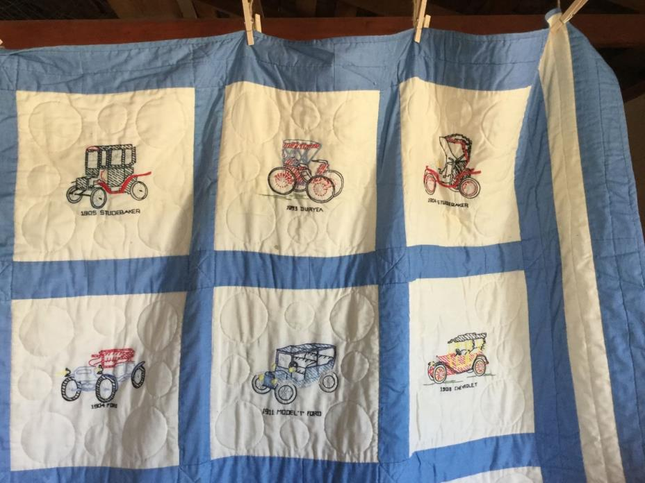 Quilt with Hand-Embroidered Antique Cars, hand-quilted
