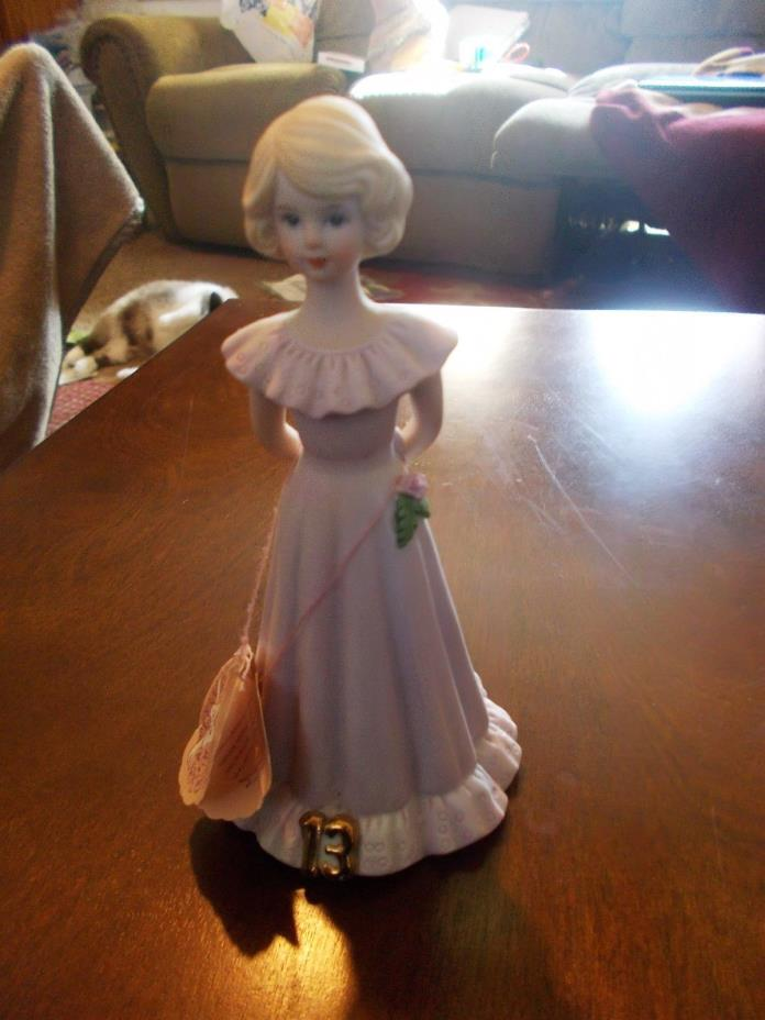 ENESCO 13 TH BIRTHDAY GROWING UP CERAMIC GIRL 1981 VINTAGE TAGS AND STAMPED