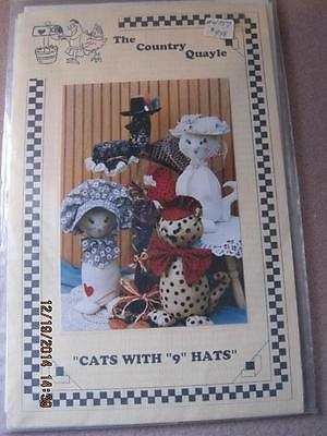 The COUNTRY QUAYLE Sewing Pattern Cats with 9 Hats Orig. $9.98 Unused