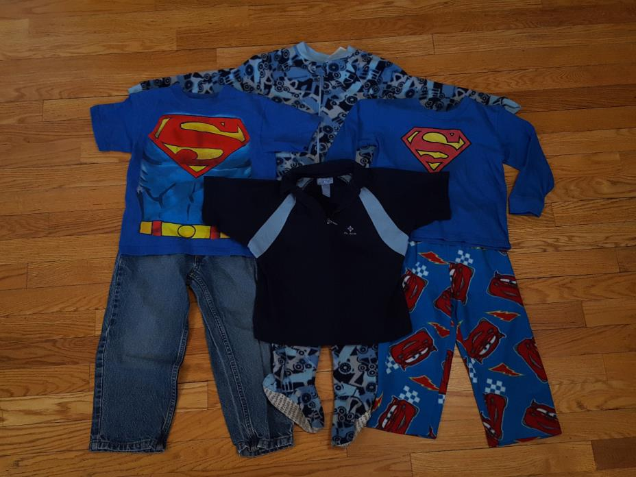 6pc Lot of boys Size 4T and 4 Outfits Superman Ruff Hewn Children's Place Disney