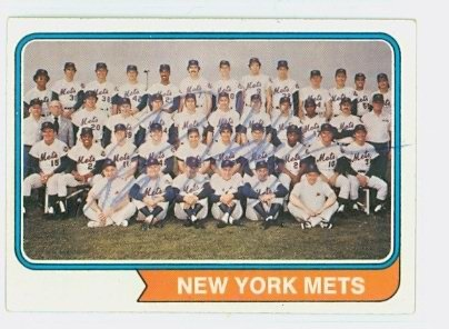 Ron Hodges AUTOGRAPH 1974 Topps #56 New York Mets Team Card