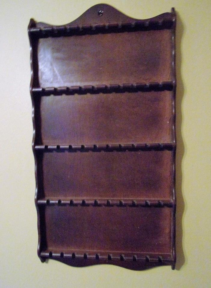 VINTAGE COLLECTIBLE LARGE WOOD WALL SOUVENIR SPOON RACK