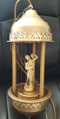 Vtg. Mineral Oil Motion Oil Rain Hanging Lamp with Greek Godess