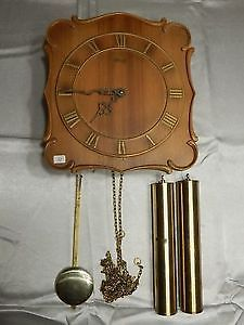 Vintage Hermle Wood Wall Clock with Weights