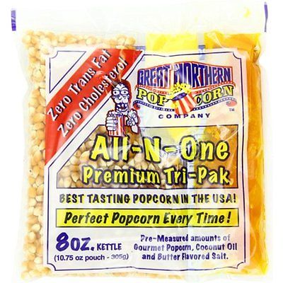Unpopped Great Northern Popcorn Premium 8 Ounce Popcorn Portion Pack of 24