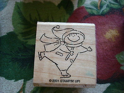 Rubber Stamp Kid Child Ice Skating Snow Clothes Stocking Hat Comic Cartoon Scarf