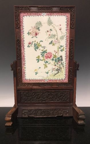 A Chinese Porcelain And Hardwood Famille Rose Table Screen