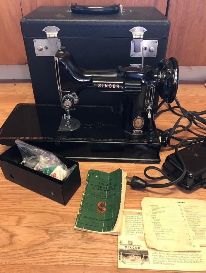 Vintage 1955 Singer Featherweight 221 Sewing Machine With Case & Attachments
