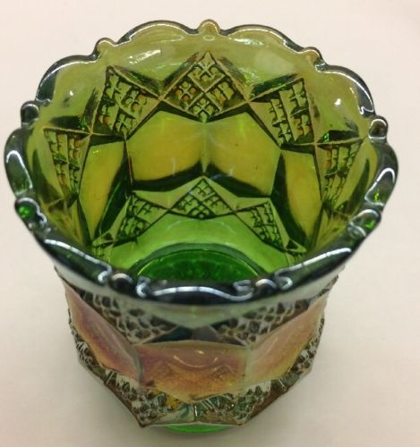 VINTAGE IMPERIAL CARNIVAL GLASS TOOTHPICK HOLDER Green