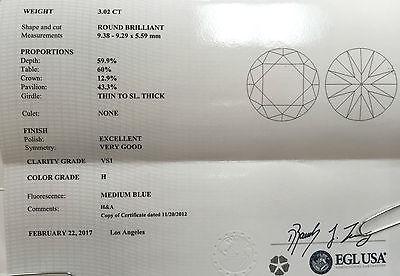 3.02 Ct. Loose Round Diamond, EGL USA VS1 - H, Hearts & Arrows