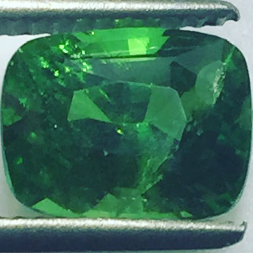 Natural 3.63 Carat Green Tsavorite Garnet Genuine Loose Gemstone Cushion