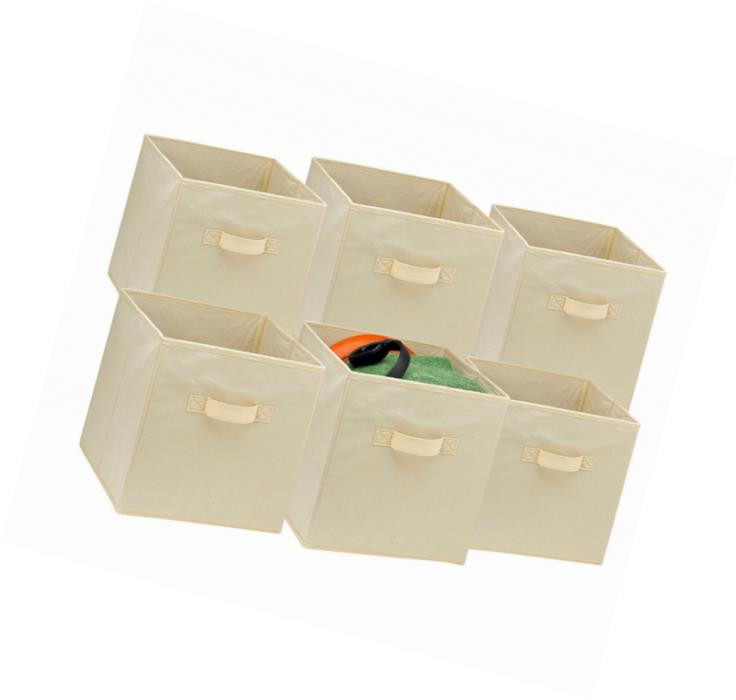 Foldable Cube Storage Bins - 6 Pack - These Decorative Fabric Storage Cubes are