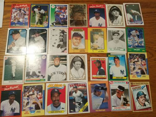 75 New York Yankee Baseball Cards, Mattingly, Winfield, Mantle
