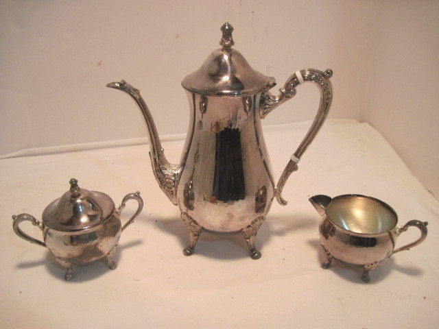 OLD VINTAGE LEONARD SILVER PLATED TEA SET