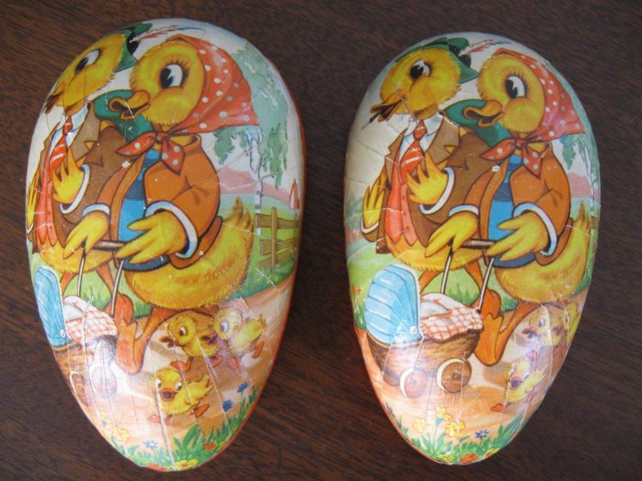 Vintage West Germany Paper Mache Easter Egg Candy Container with Ducks