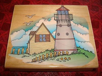 Rubber Stamp Lighthouse Ocean Sea Scene House Hill Sky