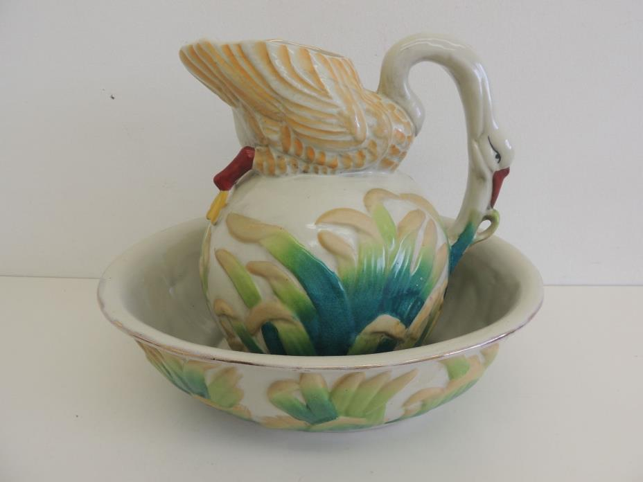 Majolica Basin and Pitcher - Victorian - Swan