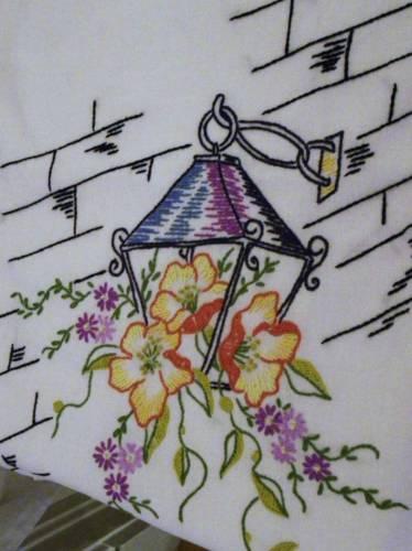 Lovely Vintage Embroidered Cotton  Pansy~Lantern Runner~Crochet Edge