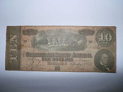 1864 Civil War Confederate Currency $10 Dollar Bill Richmond