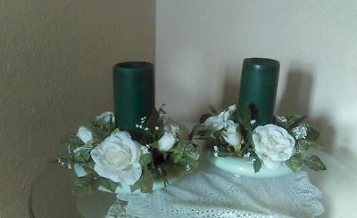 2 Vintage Mint Green San Miguel Pottery Bowls Planters wth Rose Candle Rings