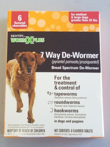 SENTRY WORM X PLUS 7 WAY DEWORMER FOR DOGS OVER 25 LBS 6 PAK Expires 2019