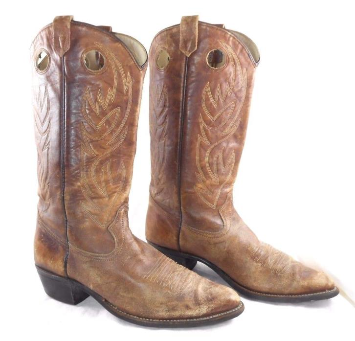 Vintage Imperial Western Cowboy Boots Size 12 D  Style 6911 Distressed Brown