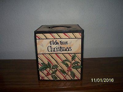 Olde Time Christmas  Tissue Kleenex Box Holder Cover  Free Shipping