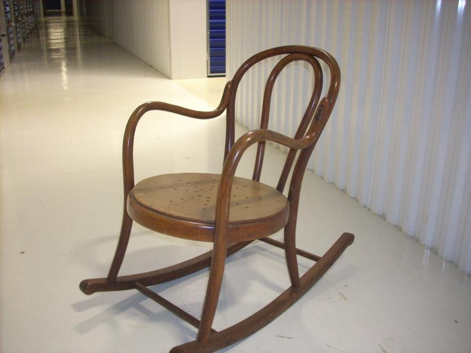 Antique Child Rocking Chair Chair, Hand Caned, Early 1900's