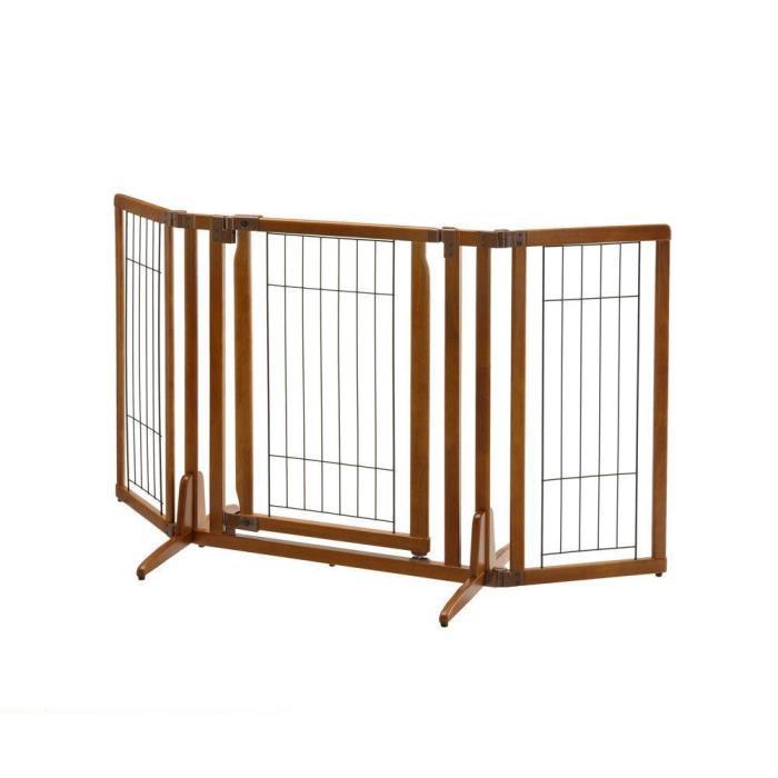 Free Standing Pet Gate Small-to-Medium Dog Indoor Adjustable Folding Wood Fence