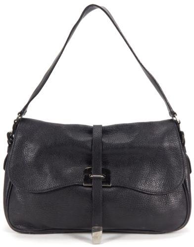 PRADA Black Pebbled Leather Flap Shoulder Bag