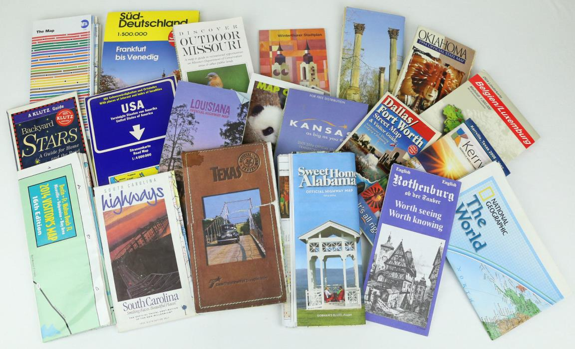Lot of 20 Maps Road Highway Tourist USA Europe 1990s-2010s Crafting Supplies