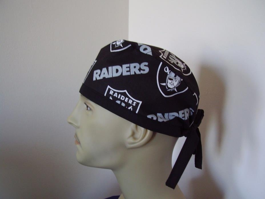 Surgical Scrub Hat/ Cap -NFL- OAKLAND RAIDERS - One size- Handmade Men Women