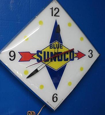 Vintage Pam BLUE SUNOCO Lighted Advertizing Clock