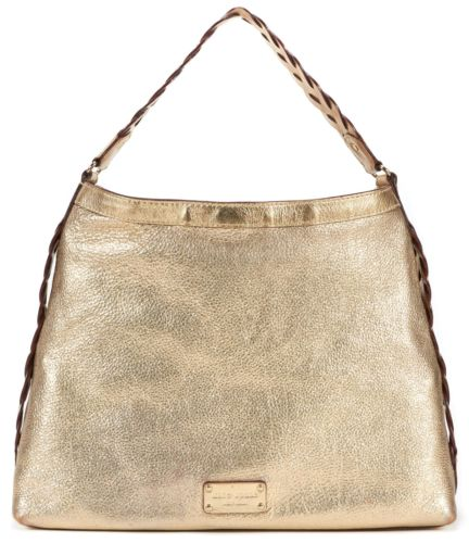 Gold Pebbled leather Braided Hobo Bag