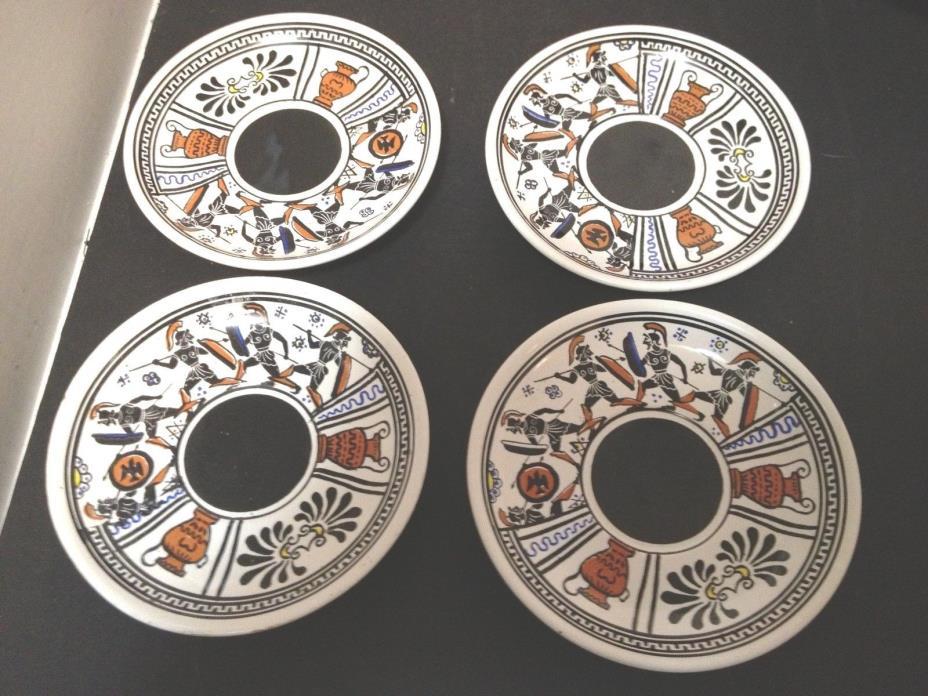 4 GREECE  SAUCER SET  Made in Greece