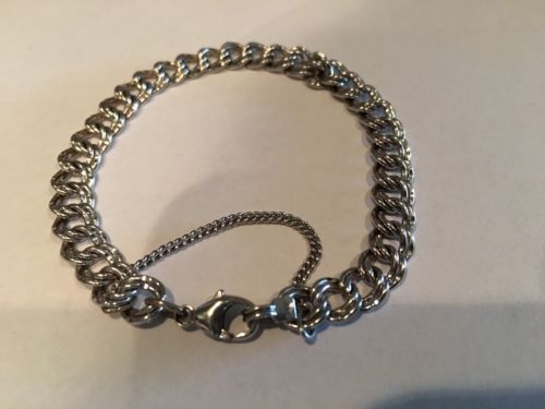 JAMES AVERY STERLING Small DOUBLE CURB LINK CHARM BRACELET 6.5