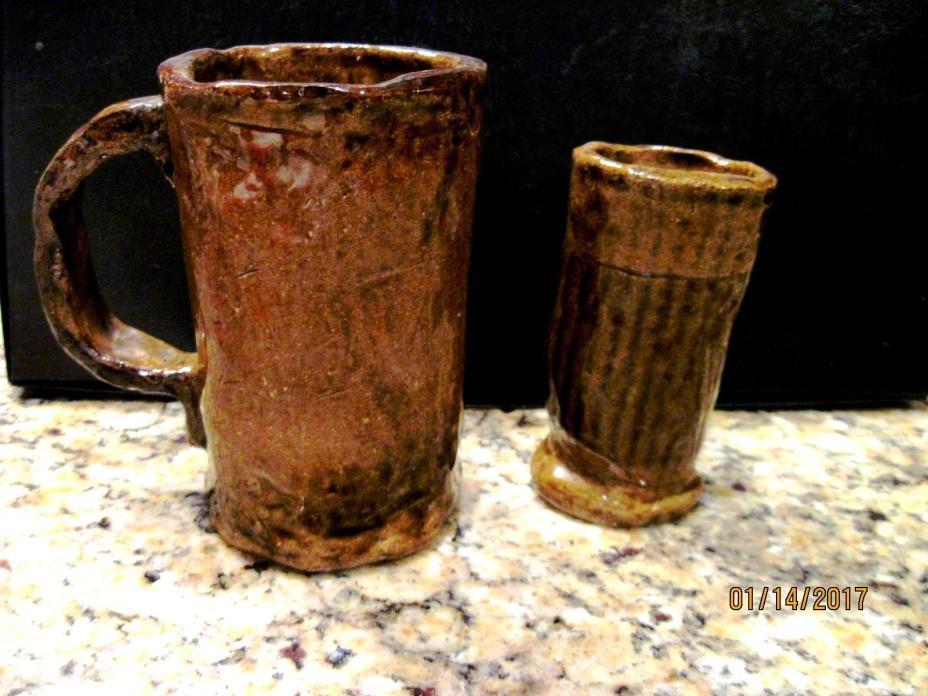 Vintage Handmade Pottery Mug and Small Vase or Glass by Mary Hall