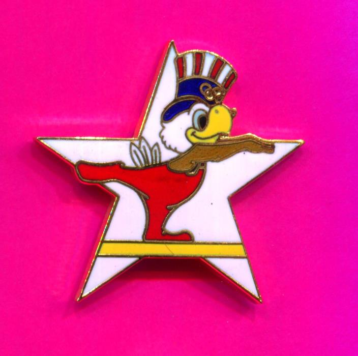 1984 LA OLYMPIC GYMNASTICS PIN BALANCE BEAM  PIN SAM THE EAGLE MASCOT WHITE STAR